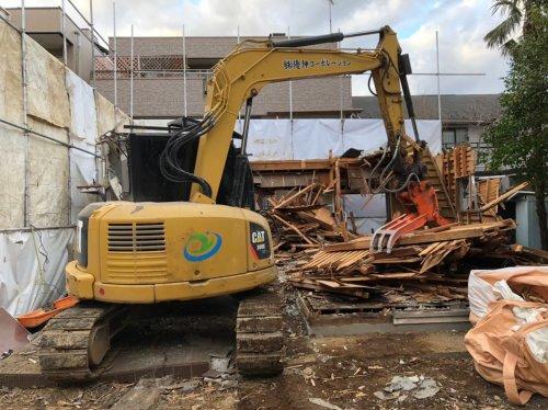 神奈川県川崎市京町 木造解体工事+植栽重機による建物の解体工事